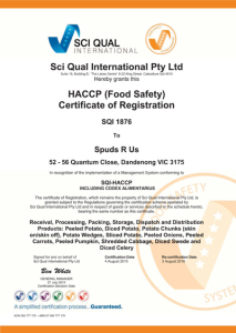 processed vegetable Sci Quality Certificate 2016